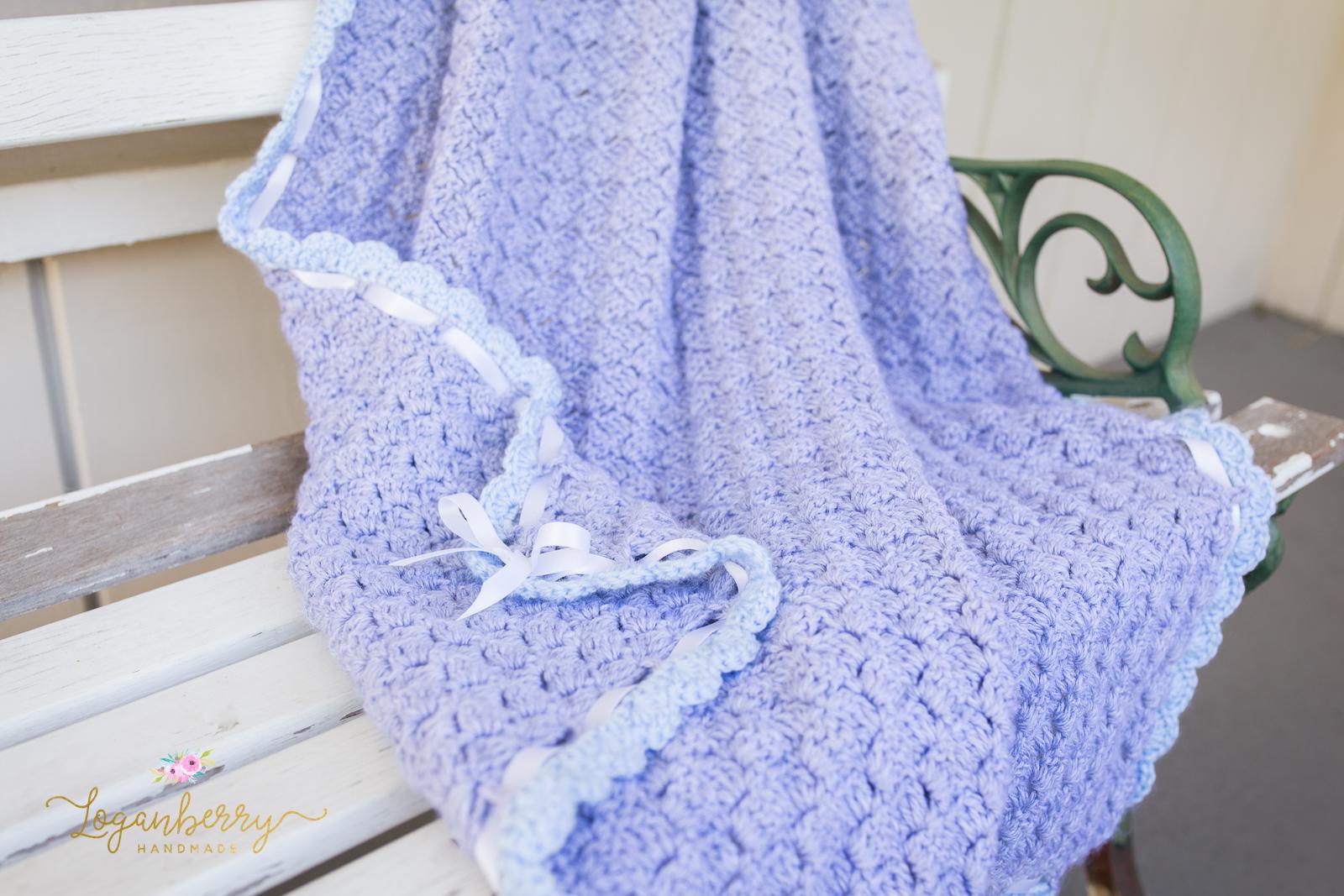 Baby Blue Scallops Crochet Blanket Free Crochet Pattern