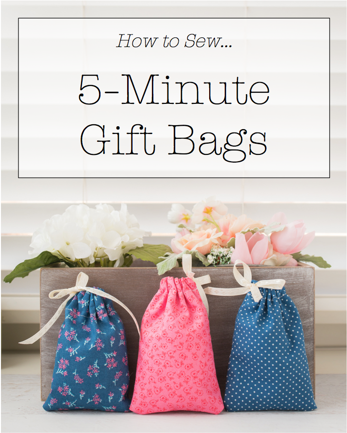 3448ef32a2b85 5-Minute Fabric Gift Bag + Tutorial + Free Pattern, diy gift bags,