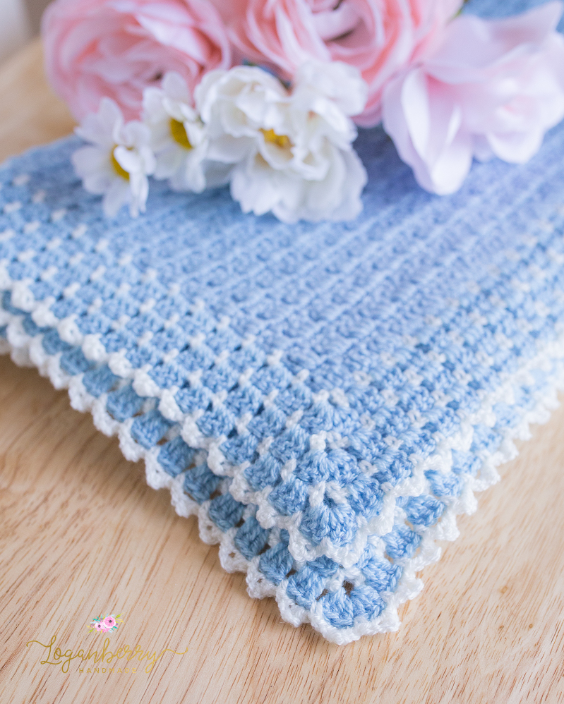Heirloom Baby Blanket Soft Blue Cream Loganberry Handmade