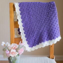 Antique Charm Crochet Blanket, Free Crochet Pattern, Crochet Blanket Purple, Purple and Cream, Fantail Stitch, Fantail Shell Stitch, Crochet Shells, Shell Granny Square, Crochet Blanket Lace Trim